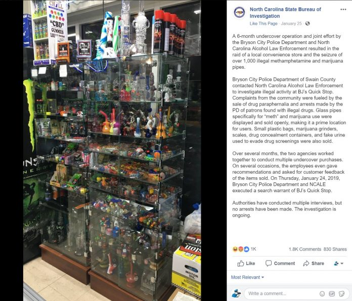 Cops Brag About Six Month Undercover Operation To Seize 1,000 Glass Pipes