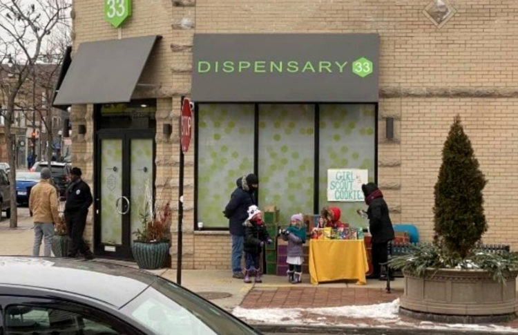 Girl Scouts Set Up Cookie Stand Outside Marijuana Dispensary in Chicago
