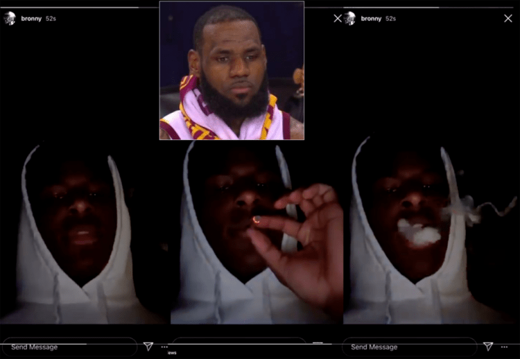 LeBron James' 15-Year-Old Son Bronny Posts Himself Smoking Weed